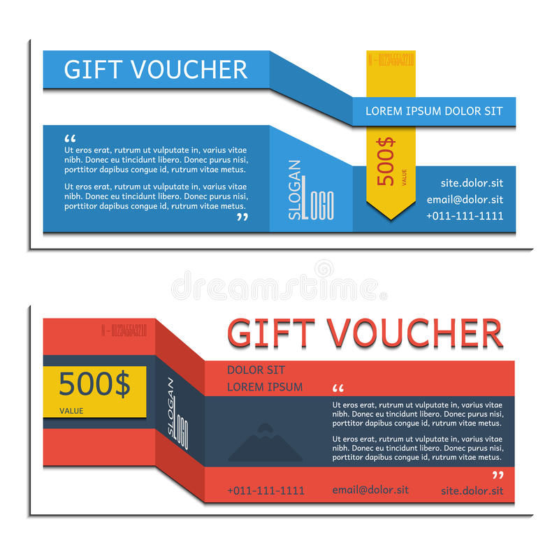 Gift voucher vector coupon template for company corporate style stock images