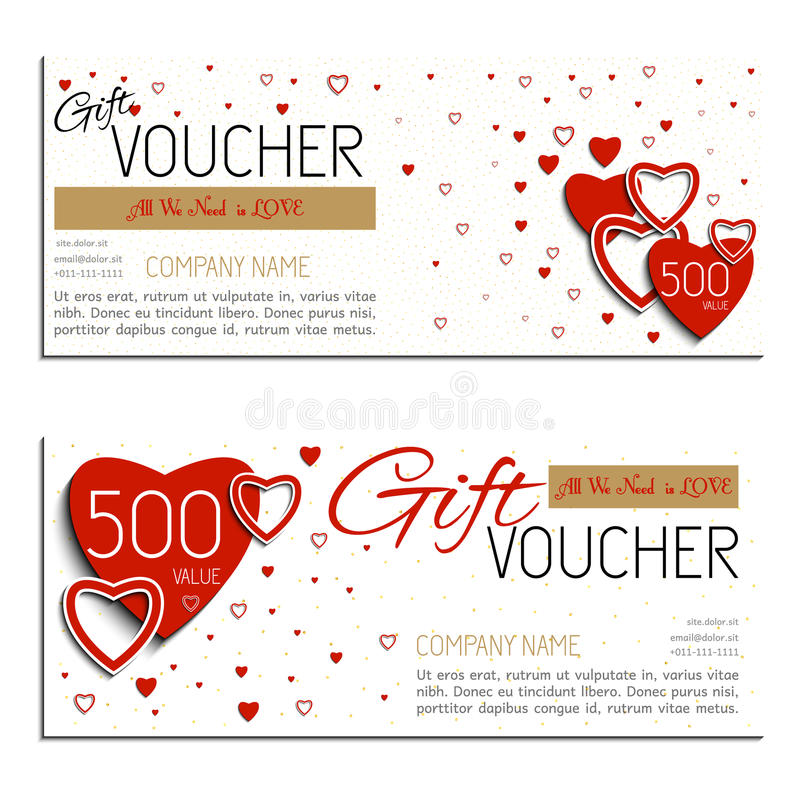 Gift voucher vector coupon Valentine's Day royalty free stock photography