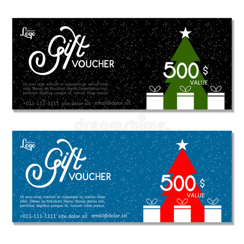 Gift voucher. Vector, illustration. Card template. royalty free illustration