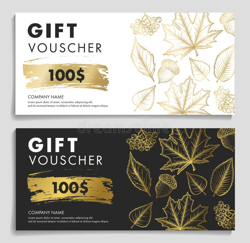 Gift Voucher woth autumn leaves and acron in gold and black and white colors royalty free illustration