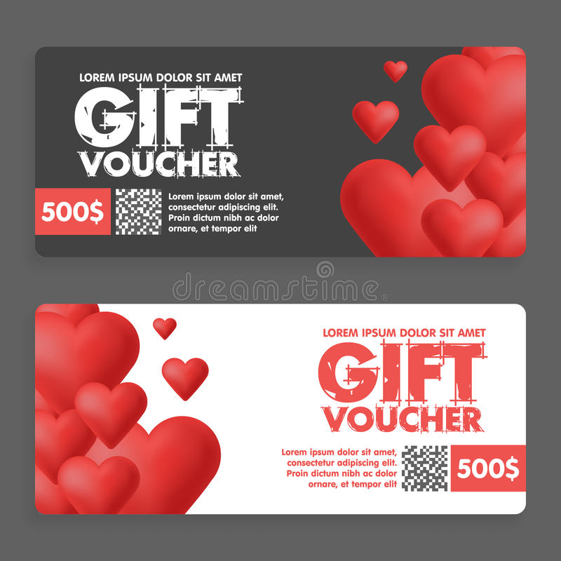 Gift vouchers with colored hearts. Great for Valentine s Day sales. Vector gift coupons royalty free illustration
