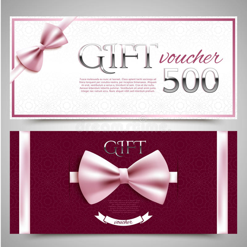 Gift vouchers with decorative bows royalty free illustration