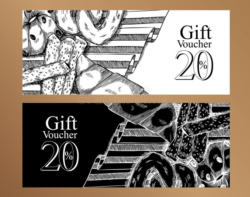 Gift vouchers food design template.Black and white stock illustration