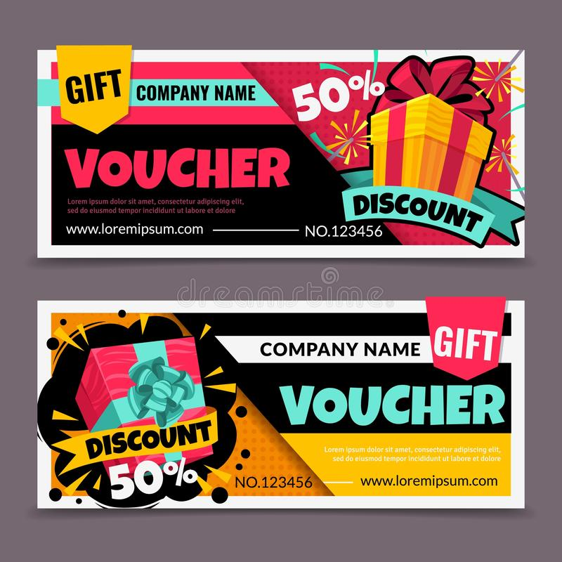 Gift vouchers. Marketing business flyer, promotion birthday certificate, christmas gift tickets design, shopping reward. Coupon vector colorful sale symbol royalty free illustration