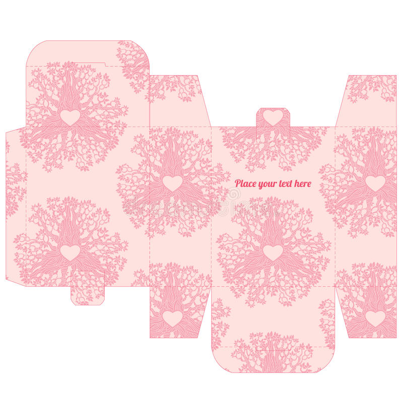 Gift Wedding Favor Box Template With Love Pattern Stock Vector ...