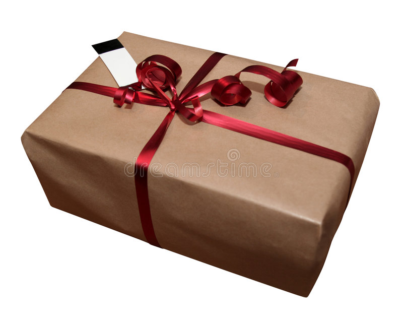 Download Gift On White With A Blank Card Stock Image - Image: 80855