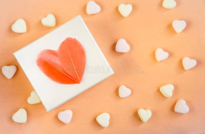 Gift, white box with a heart of feathers royalty free stock images
