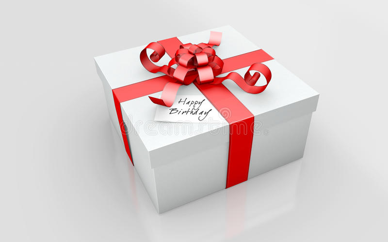 A Gift in a white cardboard. And red ribbon on a white background royalty free illustration