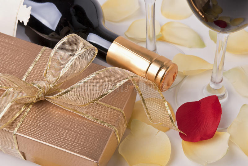 Download Gift and wine stock photo. Image of wine, ribbon, rose - 23916930