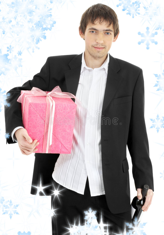 Gift and wine stock image