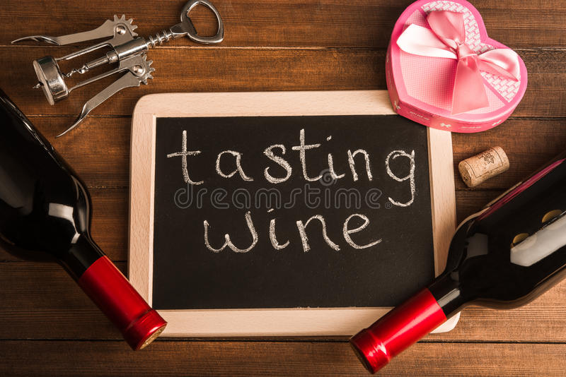 Gift and wine stock photography