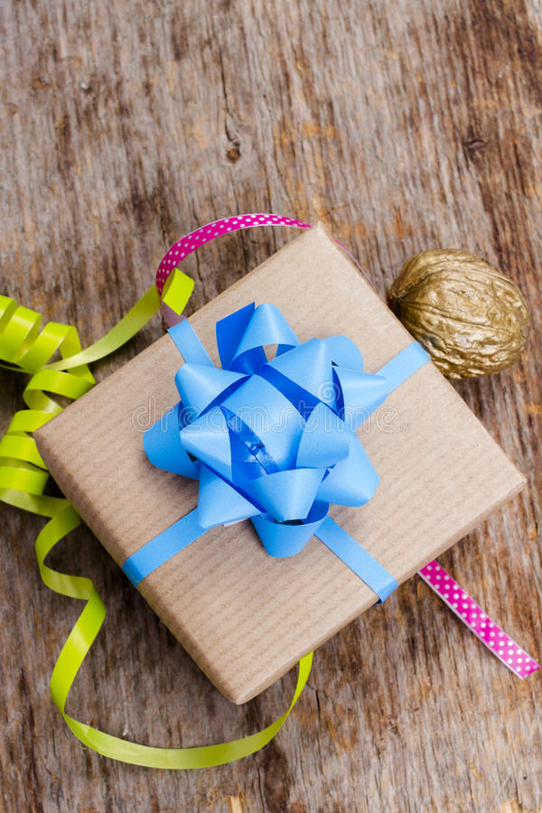 Gift on wooden background stock images