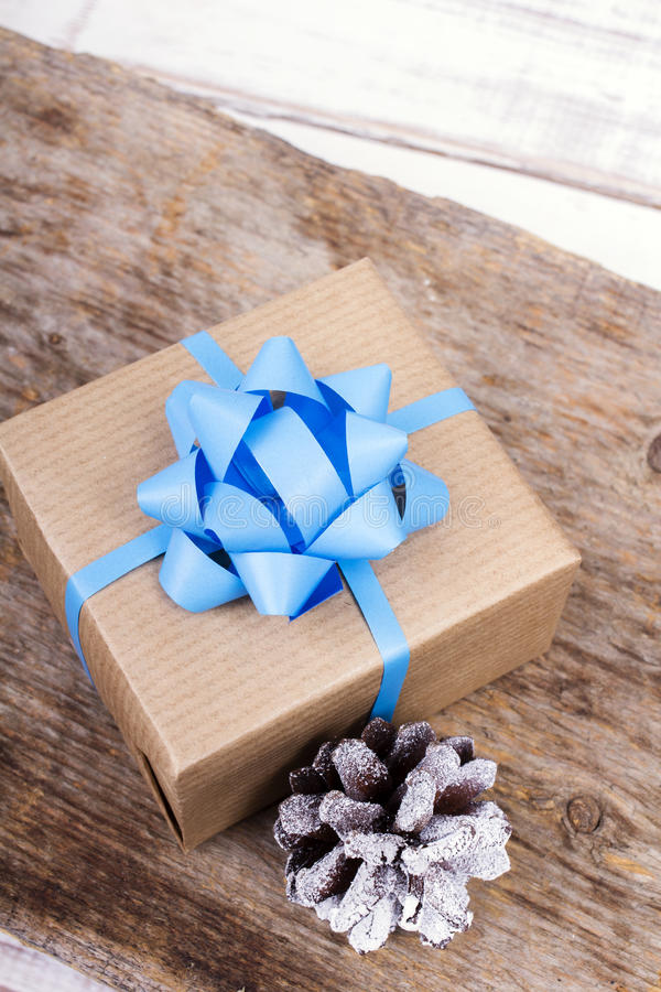 Gift on wooden background stock photos