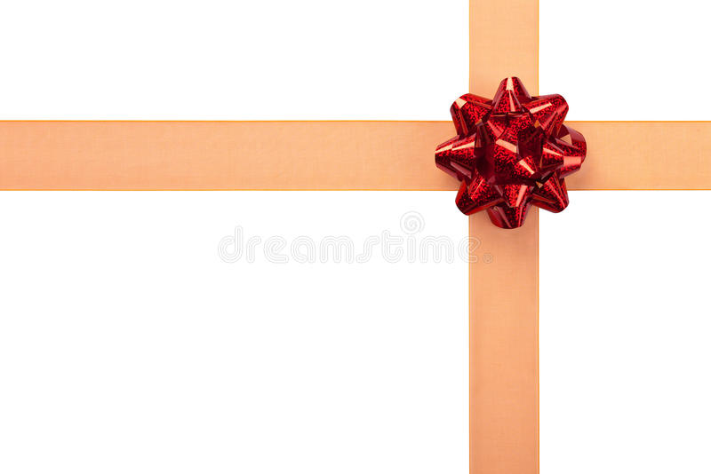 Gift Wrap with Orange Ribbon and Red Bow. Orange Ribbon with Red Bow Gift Wrap Isolated royalty free stock photos