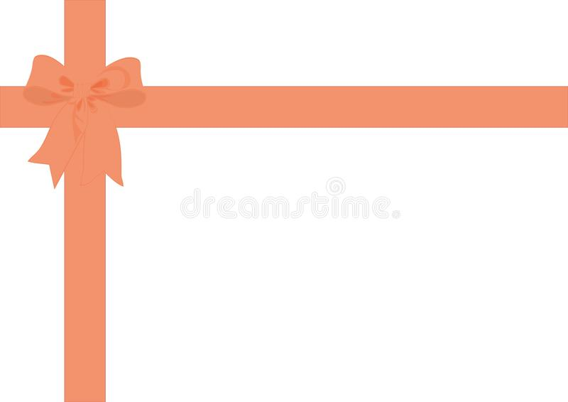 Gift wrap ribbon & bow Peach. Peach Ribbon bow with matching ribbon wrap to overlay gifts, parcels or packages, or use as a background, border or edging royalty free illustration