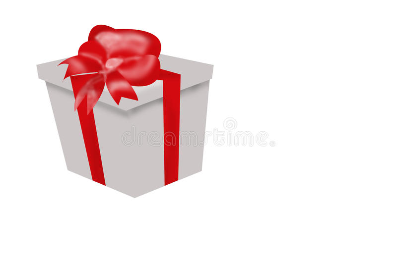 Gift Wrapped Box With Red Ribbon And Bow Stock Image