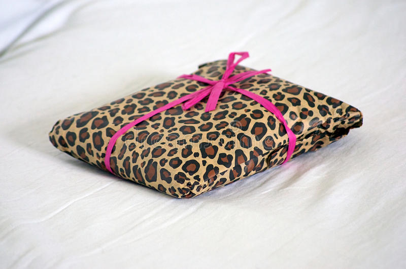 Download Gift Wrapped In Leopard Print With Pink Ribbon Stock Photo - Image: 21349968