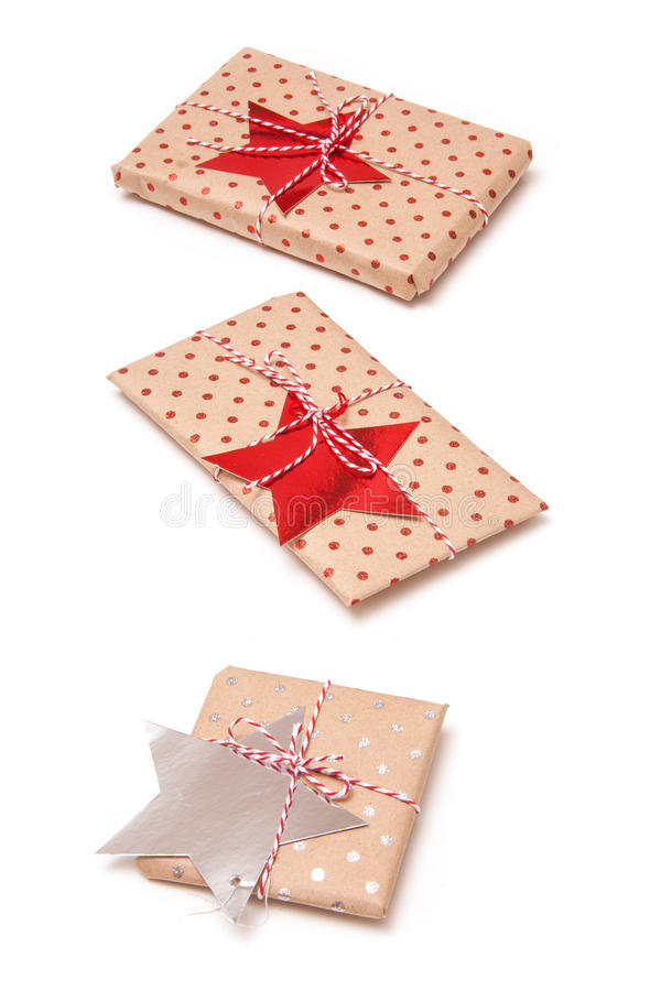 Gift wrapped parcels or presents isolated on a white backg royalty free stock photo