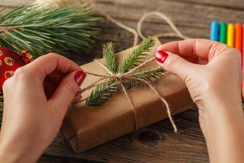Gift wrapping for Christmas and New Year. Handmade royalty free stock image