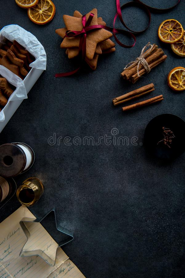 Gift wrapping of Christmas star shaped gingerbread cookies. royalty free stock images