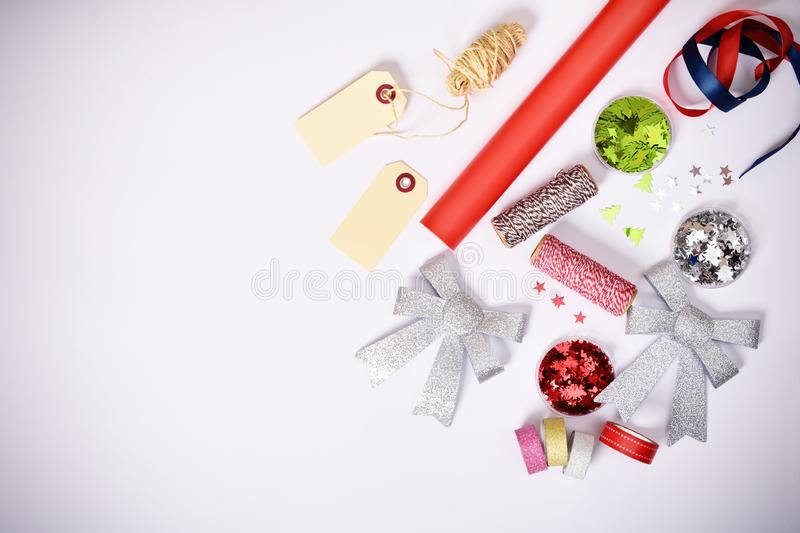 Gift wrapping items and Christmas decorations royalty free stock photos