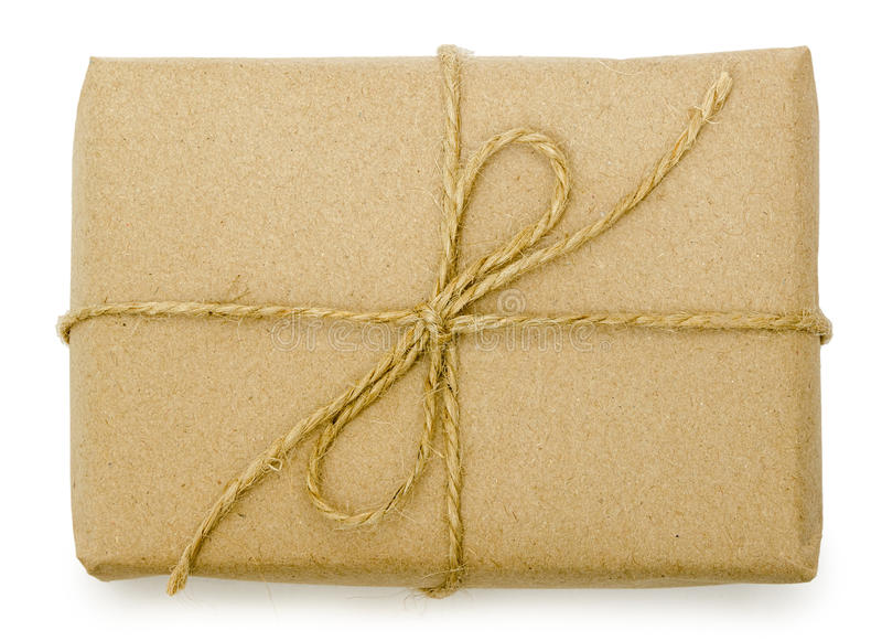 Gift wrapping from Kraft paper wrapped with twine stock image