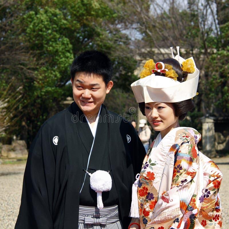 Gifta japanska par royaltyfri fotografi