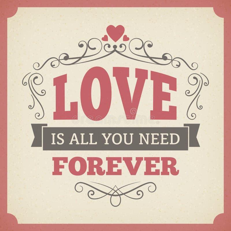 Gifta sig bakgrund för kortet för tappning för förälskelseför evigttypografi planlägg stock illustrationer