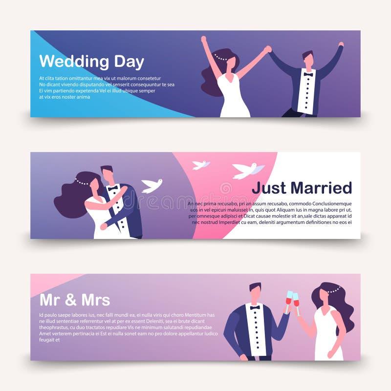 Gifta sig banervektormallen med tecknad filmteckenet royaltyfri illustrationer