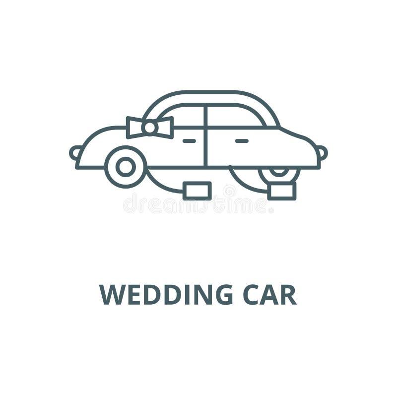 Gifta sig bilvektorlinjen symbol, linjärt begrepp, översiktstecken, symbol vektor illustrationer