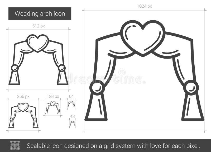 Gifta sig den ärke- linjen symbol vektor illustrationer
