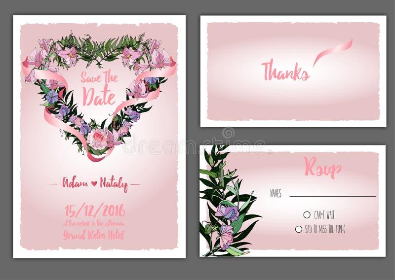 Gifta sig den blom- inbjudan stock illustrationer