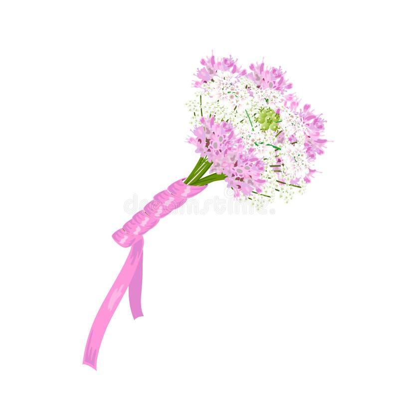 Gifta sig den brud- buketten av olika vita och rosa blommor vektor illustrationer