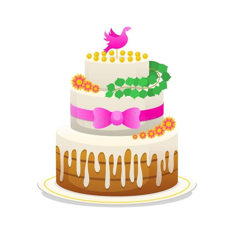 Gifta sig den celebratory kakan med blommor, pilbågen för brudgummen och bruden söt mat för nygifta personerna Ett symbol av förä stock illustrationer