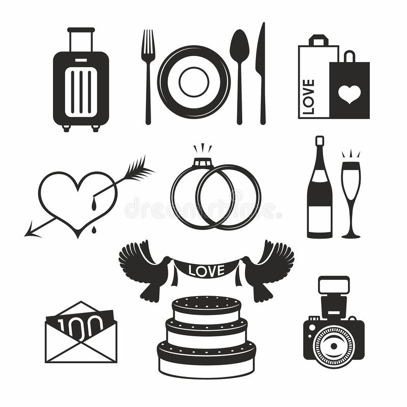 Gifta sig den fastställda symbolen royaltyfri illustrationer