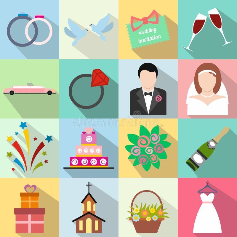 Gifta sig den plana symbolsuppsättningen royaltyfri illustrationer