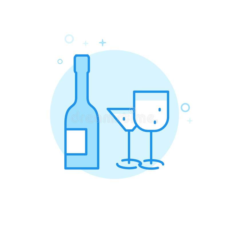 Gifta sig den plana vektorsymbolen för alkohol, symbol, Pictogram, tecken Ljust - blå monokrom design Redigerbar slaglängd royaltyfri illustrationer
