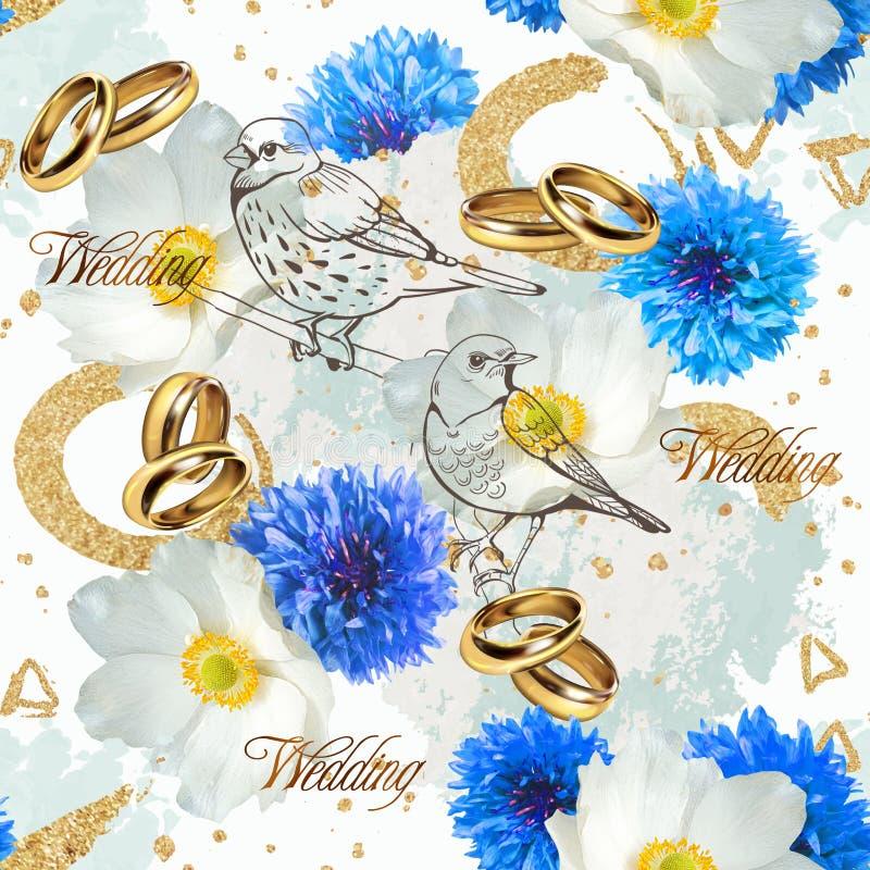 Gifta sig den sömlösa modellen med vita och blåa blommor, fåglar och cirklar royaltyfri illustrationer