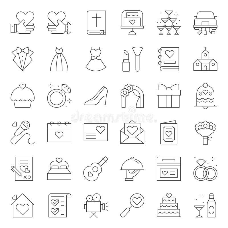 Gifta sig den släkta vektorsymbolen för organisation, linje stil vektor illustrationer