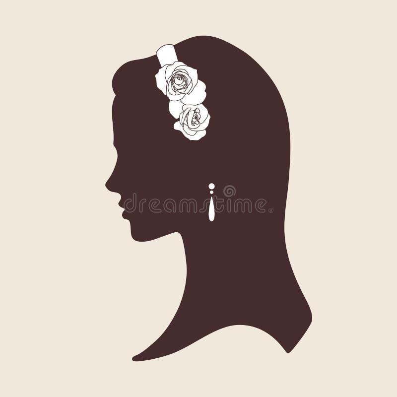 Gifta sig designkonturn av den bärande tiaran för brud som göras av rosvektor vektor illustrationer