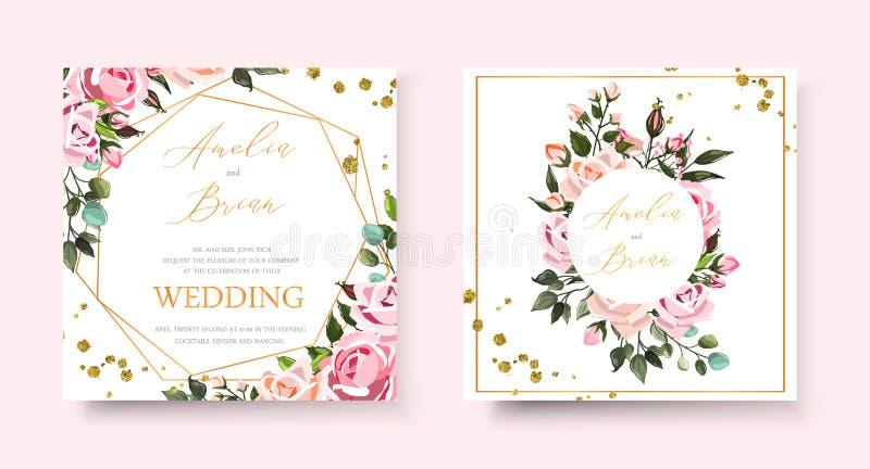 Gifta sig det blom- guld- inbjudankortet spara datumdesignen med rosa blommarosor royaltyfri illustrationer
