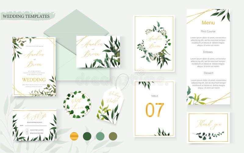 Gifta sig det blom- guld- inbjudankortkuvertet spara tabellen för datumrsvpmenyn stock illustrationer