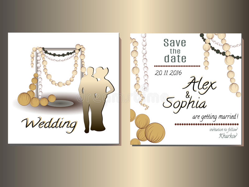Gifta sig det fastställda kortet som gifta sig inbjudan vektor illustrationer