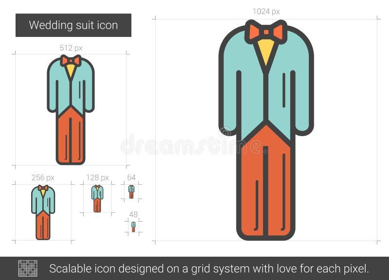 Gifta sig dräktlinjen symbol royaltyfri illustrationer