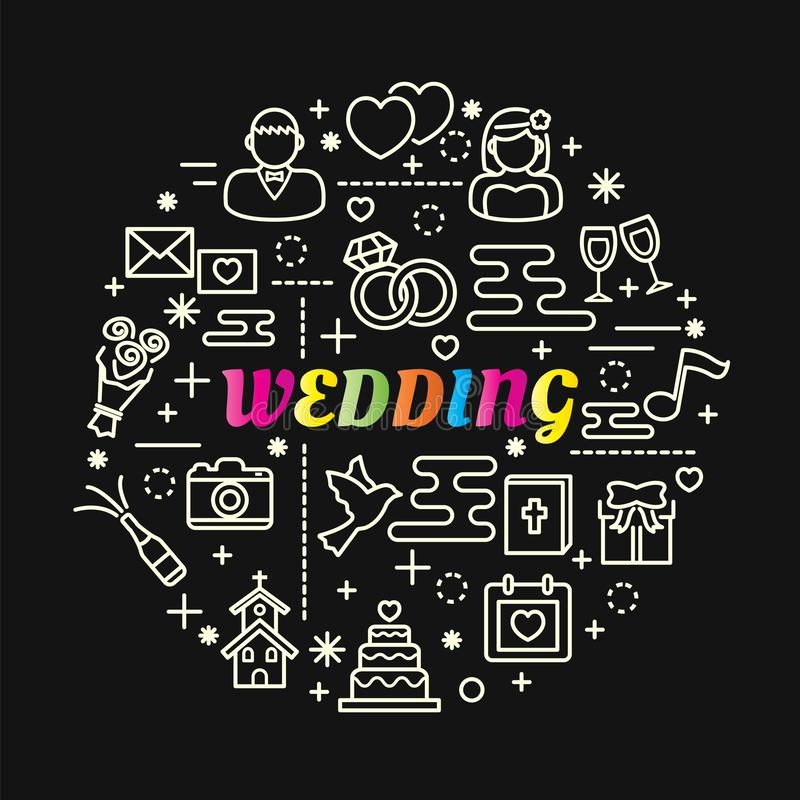 Gifta sig färgrik lutning med linjen symbolsuppsättning royaltyfri illustrationer