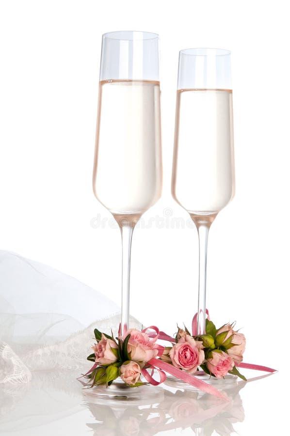 gifta sig för champagneexponeringsglas arkivbilder