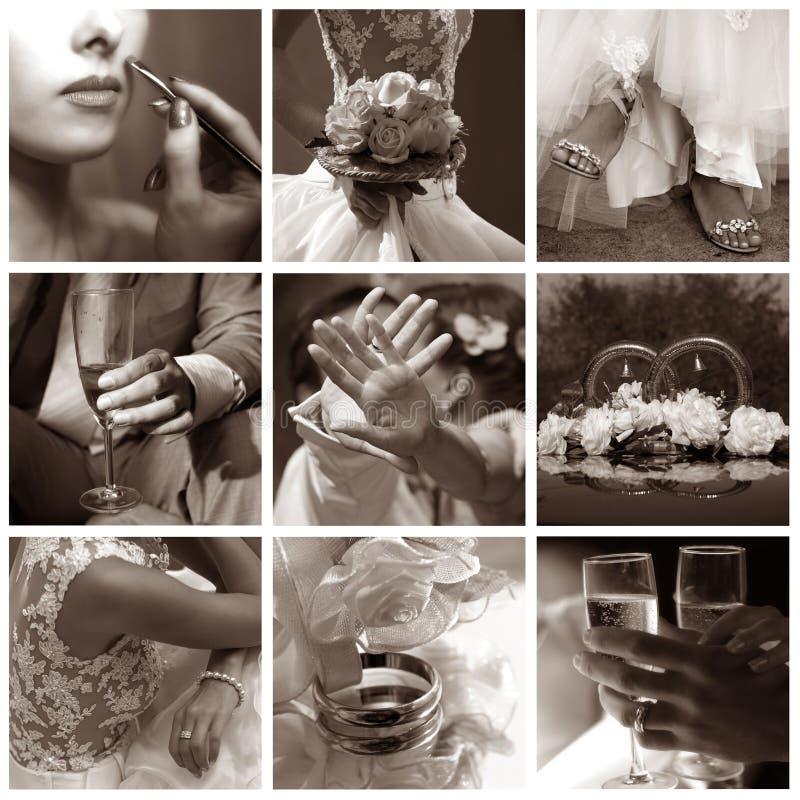 gifta sig för foto för collage nio royaltyfri fotografi