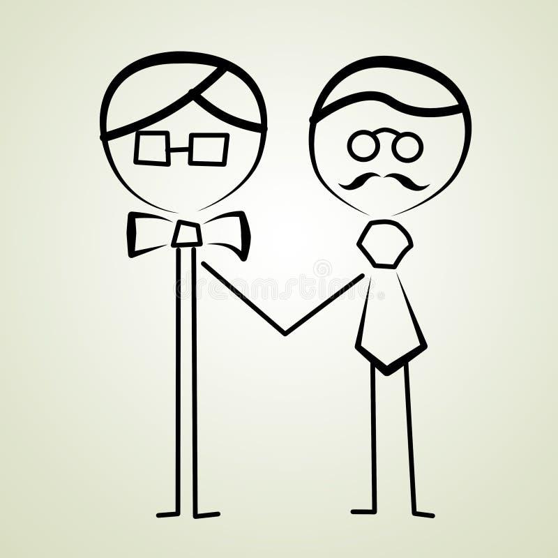 gifta sig för parbögar royaltyfri illustrationer