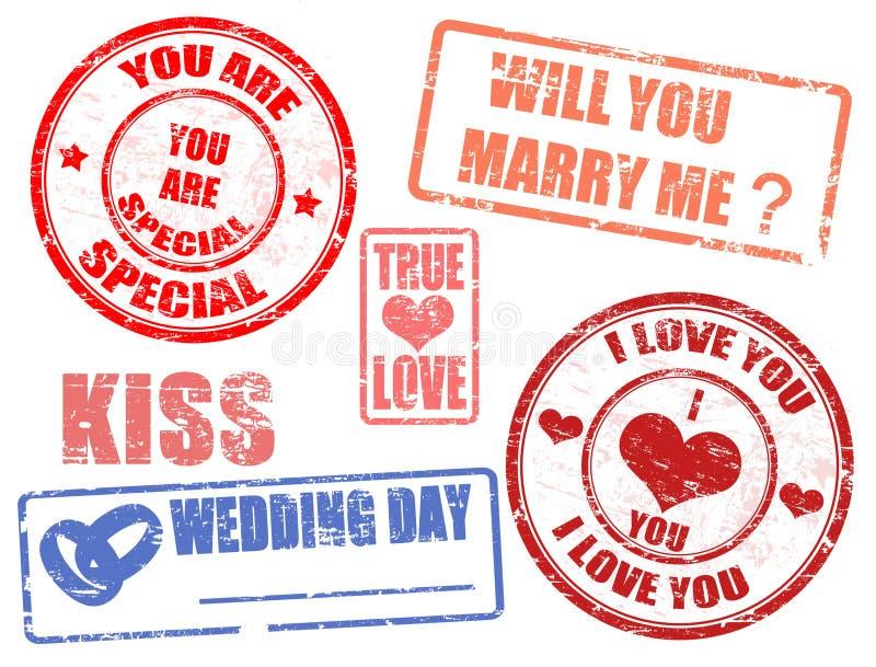 gifta sig för stämplar royaltyfri illustrationer