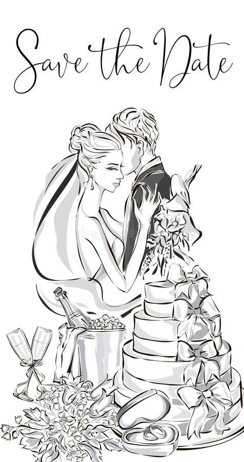 Gifta sig hälsningkortet med bruden och brudgum, bröllopstårta, champagne, blommor och vigselringar Weddi för uppsättning för gem stock illustrationer
